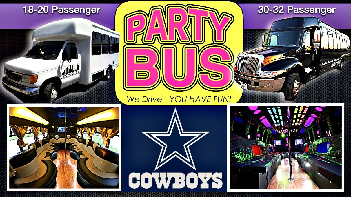 Dallas Cowboy Game transportation party Bus Limo